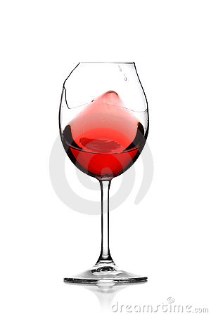 Red wine in broken glass