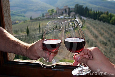 Red wine in Castello di Meleto in Italy / Tuscany