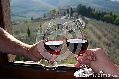 Red wine in Castello di Meleto in Italy / Tuscany