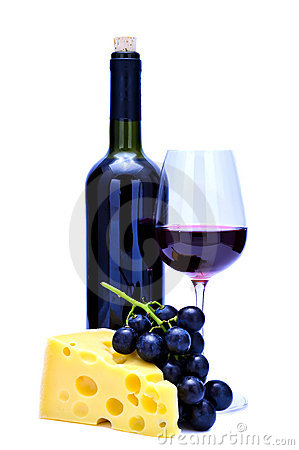 Red wine, cheese and grapes