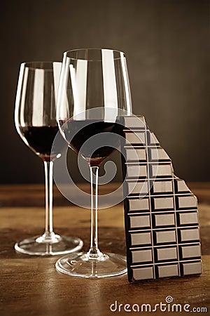 Red wine and chocolate bar