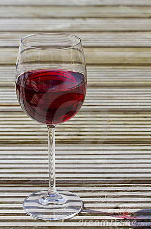 Red wine on decking