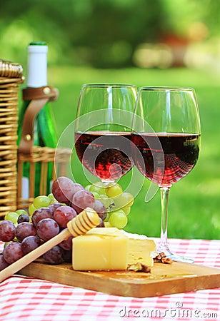 Red wine in the garden