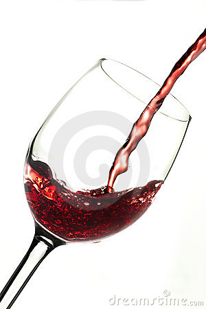 Red wine into glass