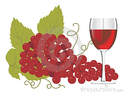 Red wine glass with a bunch of grapes