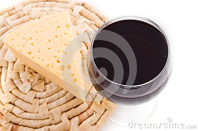 Red wine glass with cheese