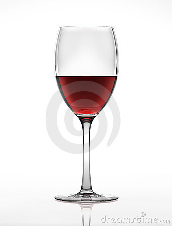 Red wine glass, viewed from a side.