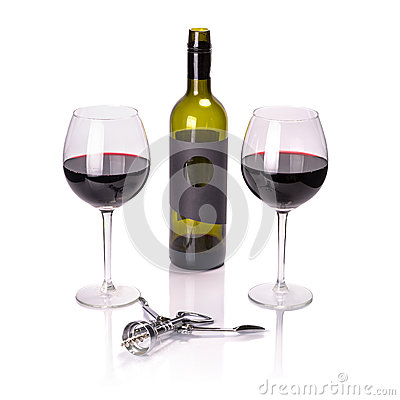 Red wine in glasses with bottle