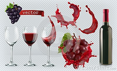 Red wine. Glasses, bottle, splash, grapes. realistic vector icon set Vector Illustration