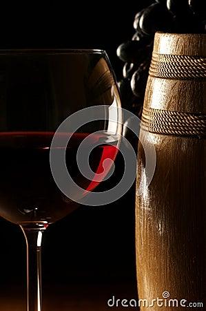 Red wine, grape and barrel