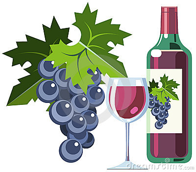 Red wine with grapes, bottle and glass