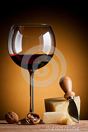 Red wine and hard cheese