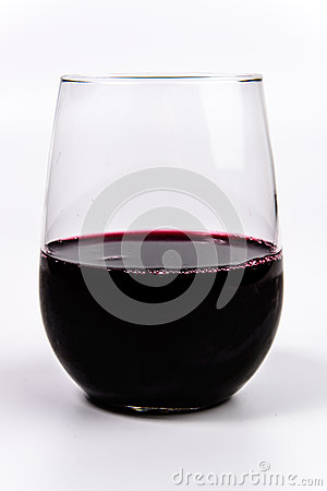 Free Red Wine In A Stemless Wine Glass Stock Photo - 53843000