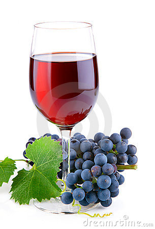 Free Red Wine In Glass With Grapes Stock Images - 20834794