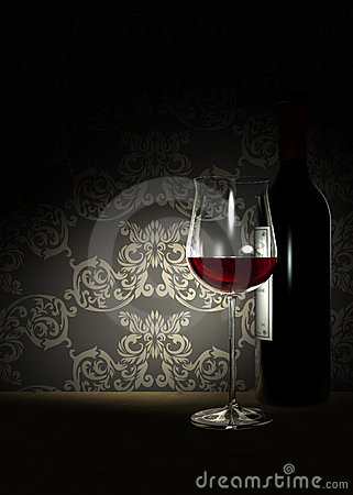 Red Wine and old Wallpaper