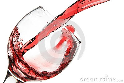 Red wine pour into glass