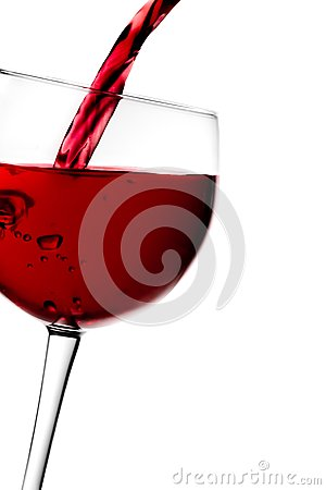 Free Red Wine Pouring Into Half Glass Tilted With Space For Text Stock Photo - 32256530