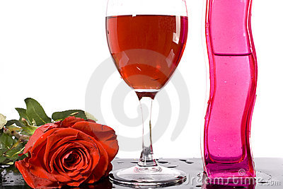 Red Wine And Rose Stock Images - Image: 13116594