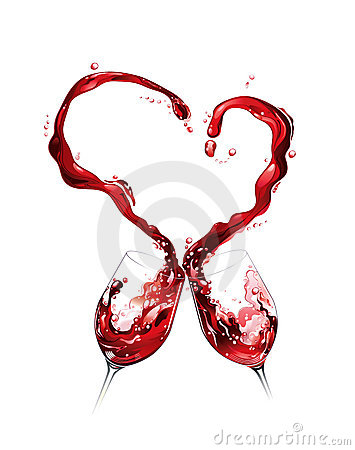 Red wine spilling and forming heart shape
