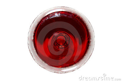 Red wine, the top view.