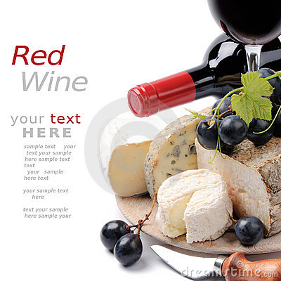 Free Red Wine With French Cheese Selection Stock Images - 21123784