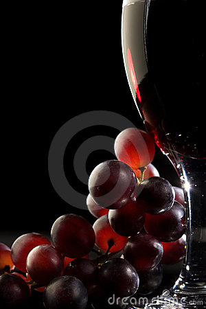Free Red Wine With Grapes Stock Photo - 14835340