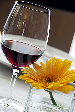 Red wine and yellow flower