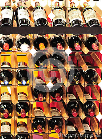 Red wines on bordex storage shelf Editorial Stock Image