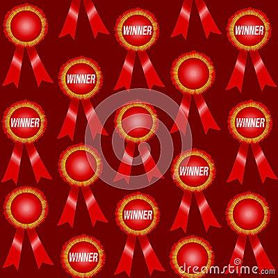 Red Winner Ribbons Pattern