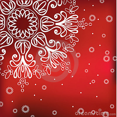 Red winter background with snowflake