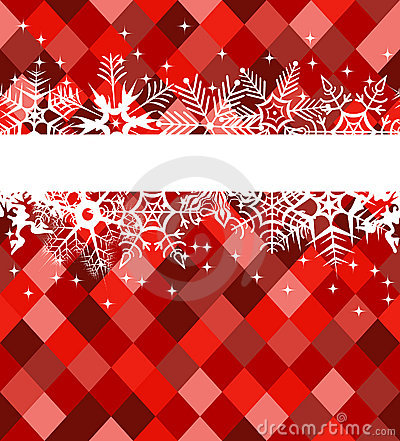 Red winter banner with snowflakes