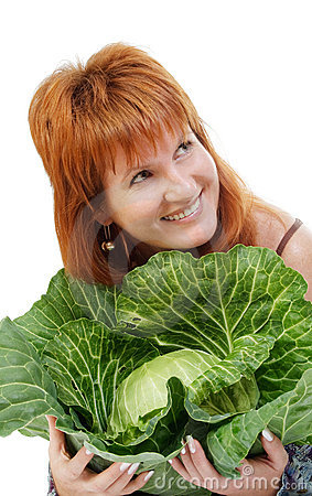 The red woman with cabbage
