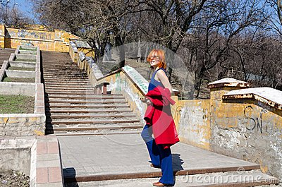 Red woman enjoying sunny day