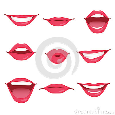Red woman lips isolated Vector Illustration