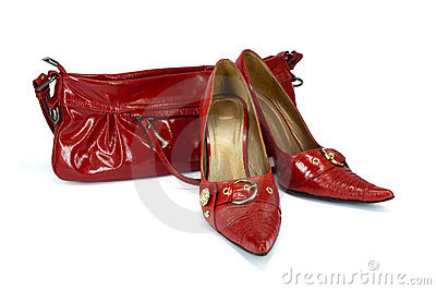 Red woman s shoes and handbag