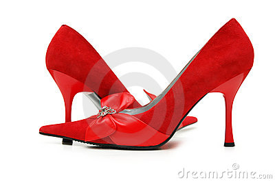 Red woman shoes isolated