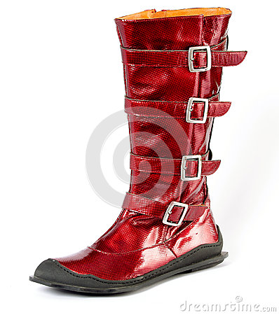 Red women s boots genuine leather, metal buckles