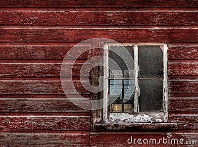 Red Wood Building - Broken Window (horizontal)
