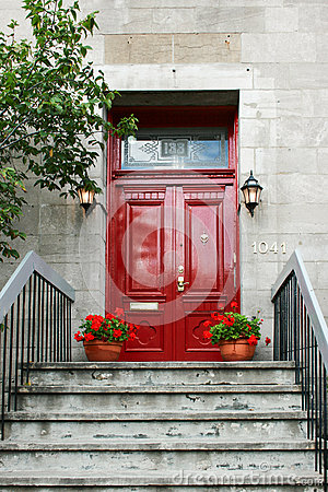 Free Red Wood Door With Two Lanterns Stock Photos - 65619173