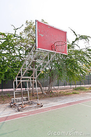 Red wooden basketball goal