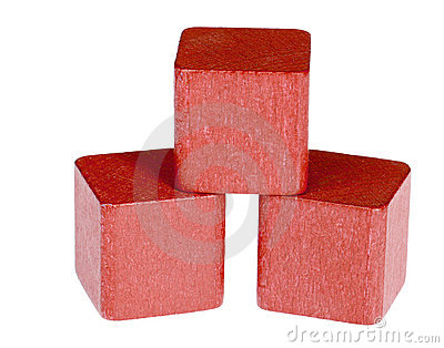 Red wooden cubes
