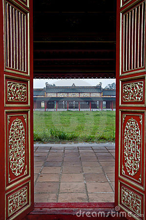 Red Wooden Doors and Temple, Hue Citadel