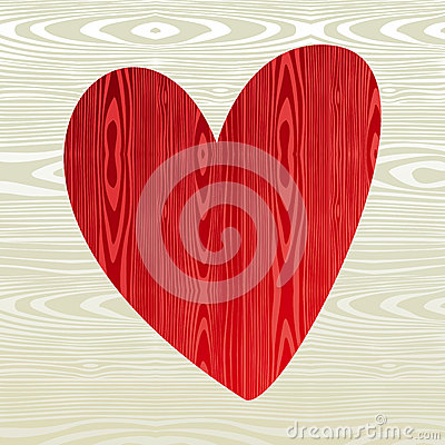Free Red Wooden Heart Shape Stock Images - 26724394