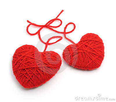 Red woolen hearts