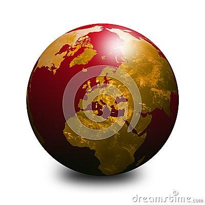 Red world globe