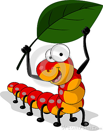 Red worm cartoon with leaf