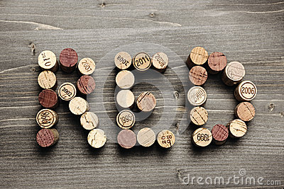 RED written with corks