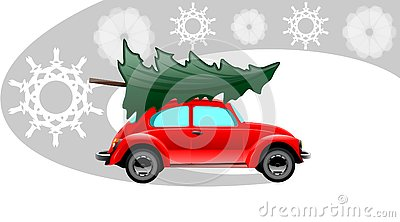 Red xmas car Vector Illustration