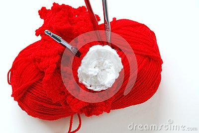 Red Yarn on White