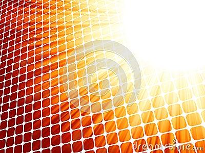 Red yelloe rays light 3D mosaic. EPS 8